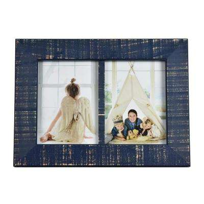 Dennis 5 in. x 7 in. Dark Blue Double Picture Frame