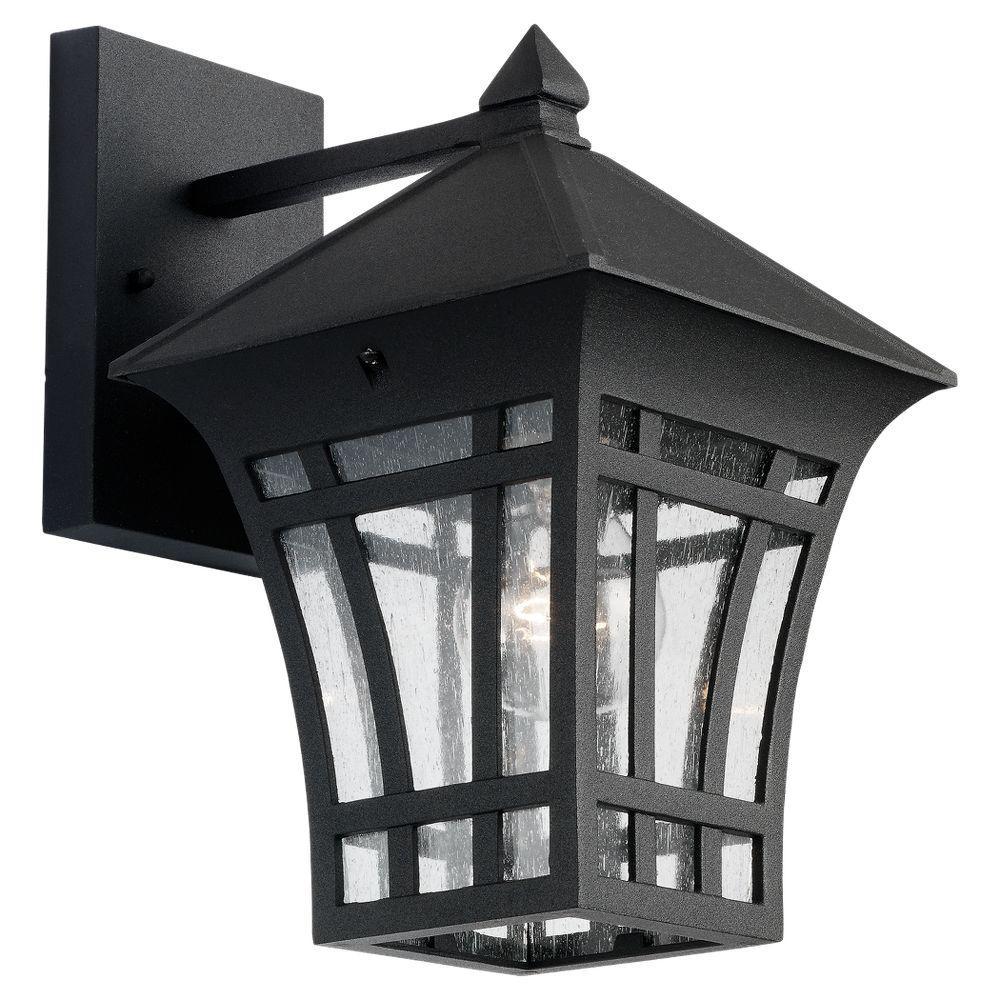 Herrington Medium 7.25 in. W 1-Light Black Outdoor 11.75 in. Wall Mount Lantern