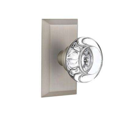 Studio Plate 2-3/8 in. Backset Satin Nickel Privacy Round Clear Crystal Glass Door Knob