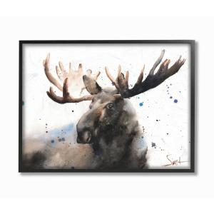11 In X 14 In Majestic Moose Watercolor Painting With Blue Splatter By Eric Sweet Framed Wall Art