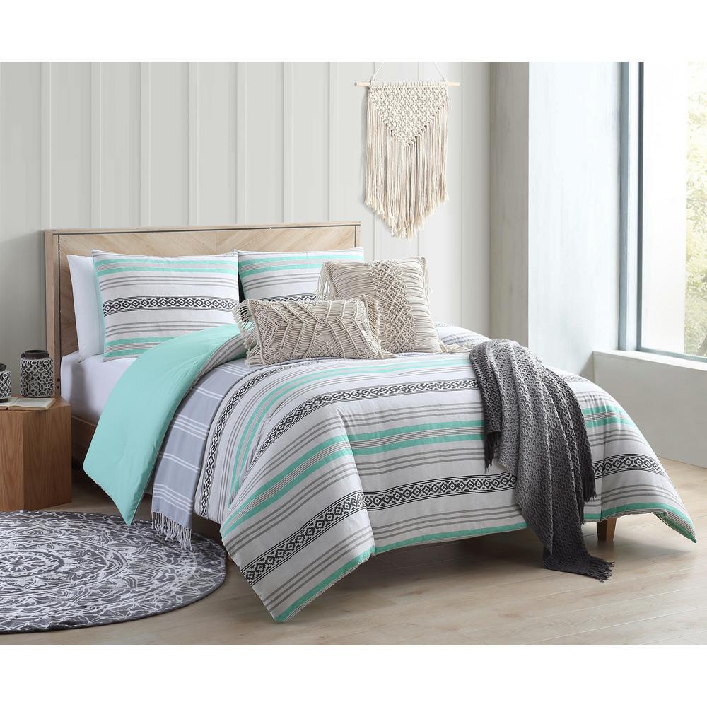 Baja Striped Black and Aqua Twin/Twin XL Comforter Set