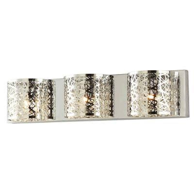 Carterton 3-Light Chrome Vanity Light with Crystal Accents