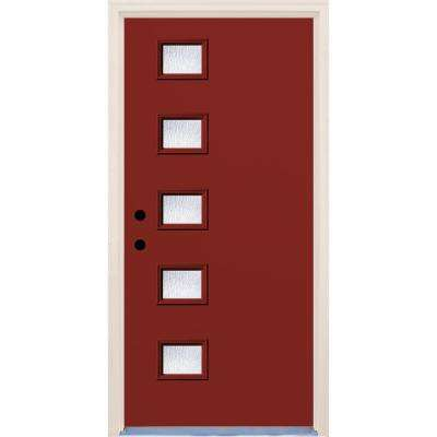 36 in. x 80 in. Right-Hand Cordovan 5 Lite Rain Glass Painted Fiberglass Prehung Front Door with Brickmould