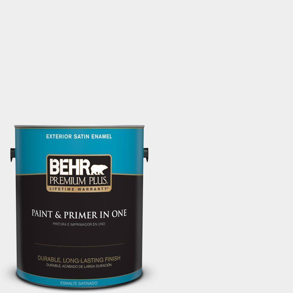 BEHR Premium Plus 1-gal. #W-D-610 White Glove Satin Enamel Exterior Paint