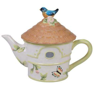 Spring Meadows 3.25-Cup Multi-Colored 3-D Bird House Teapot