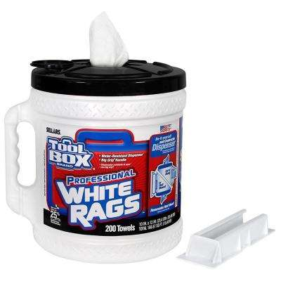 200-Count Professional White Rags Bucket