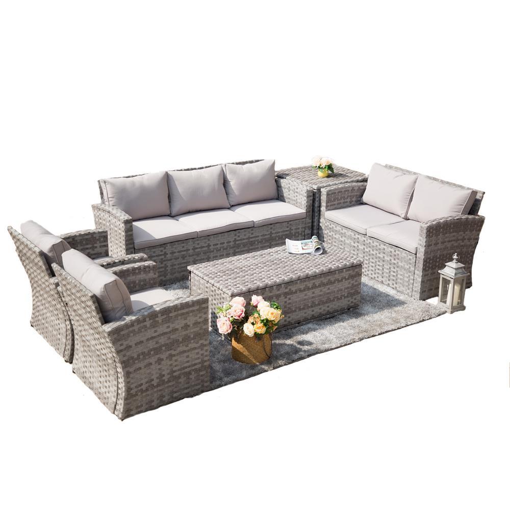 Puerta 6-Piece Steel Wicker Patio Conversation Set with Grey Cushions