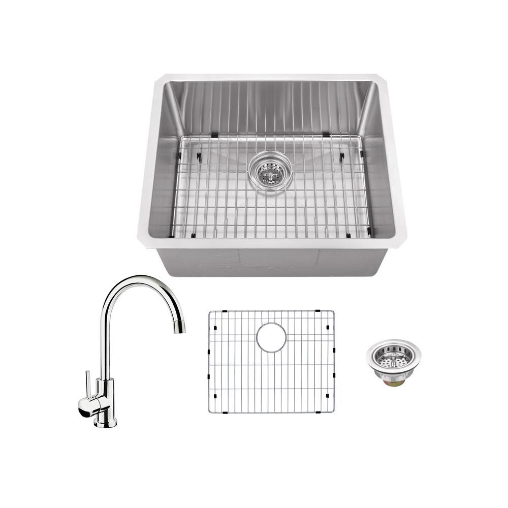 IPT Sink Company All-in-One Undermount Stainless Steel 23 in. Single Bowl Kitchen Sink with Polished Chrome Kitchen Faucet