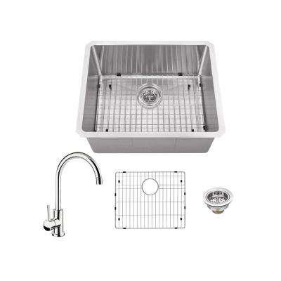 All-in-One Undermount Stainless Steel 23 in. Single Bowl Kitchen Sink with Polished Chrome Kitchen Faucet
