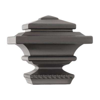 Mix and Match 1 in. Square Curtain Rod Finial in Gunmetal (2-Pack)