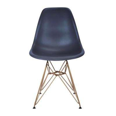 Banks Navy Blue Armless Side Chair with Gold Legs