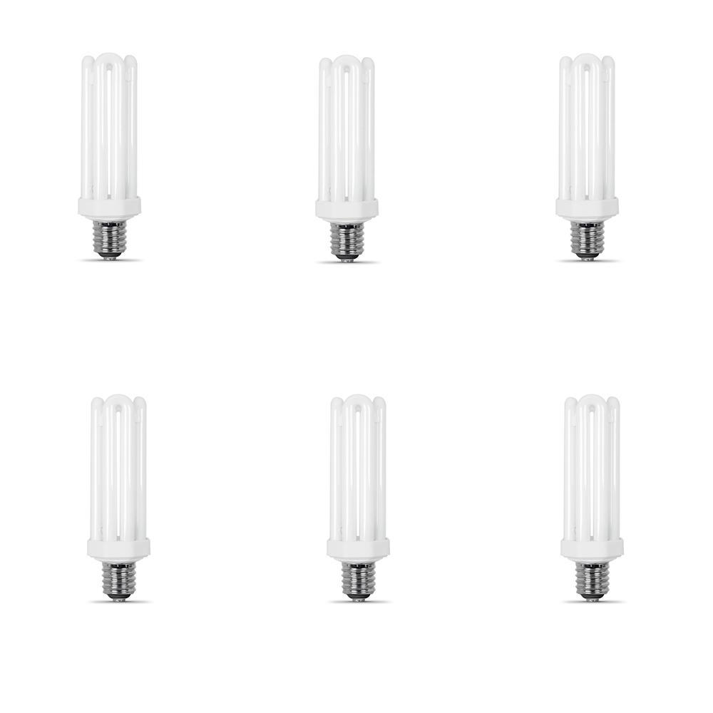 300-Watt Equivalent Daylight Quad Tube E26 Base with Mogul Adapter CFL Light Bulb (6500K) (6-Pack)