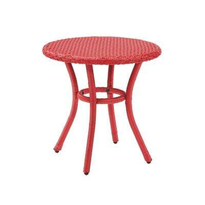 Light Red Wicker Outdoor Side Table Palm Harbor