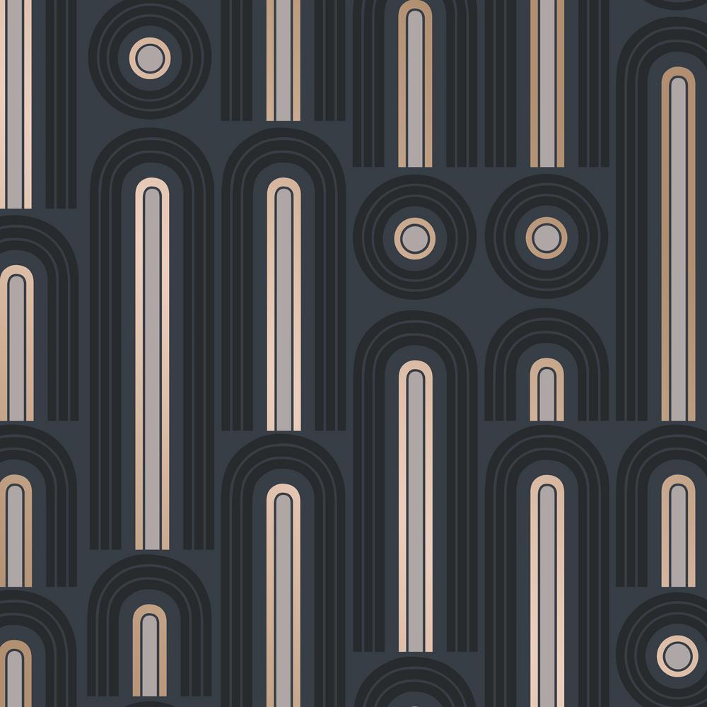 Novogratz Wave Pop Graphite Self-Adhesive Removable Wallpaper