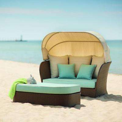 Deerfield All Weather Wicker Patio Day Bed With Blue Cushions