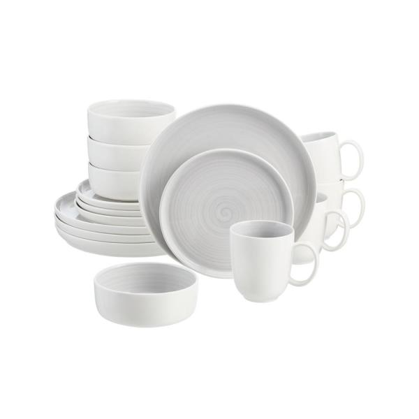 Chastain 16-Piece Swirl Shadow Gray Porcelain Dinnerware Set (Service for 4)