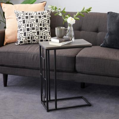 Black C-Style Accent Table with Gray Wooden Top