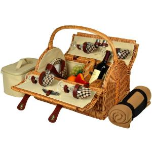 Yorkshire Willow Picnic Basket with Service for 4 with Blanket in London Plaid by