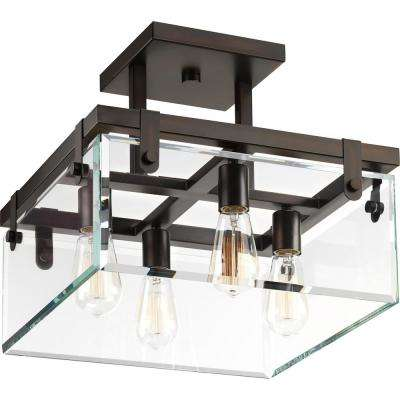 Glayse Collection 4-Light Antique Bronze Semi-Flushmount