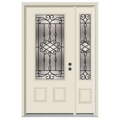 52 in. x 80 in. 3/4 Lite Sanibel Primed Steel Prehung Left-Hand Inswing Front Door with Left-Hand Sidelite