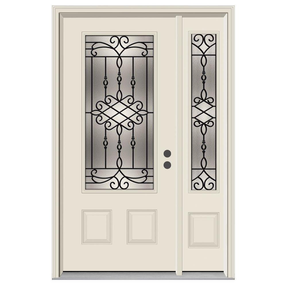 52 in. x 80 in. 3/4 Lite Sanibel Primed Steel Prehung Left-Hand Inswing Front Door with Right-Hand Sidelite
