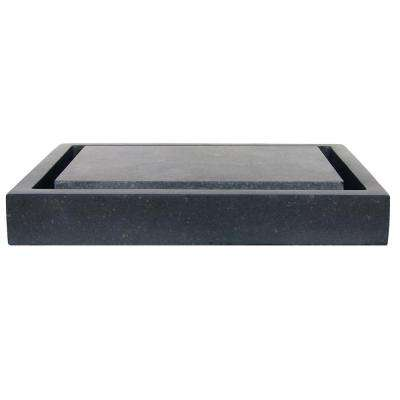 Rectangular Infinity Pool Vessel Sink in Honed Black Basalt