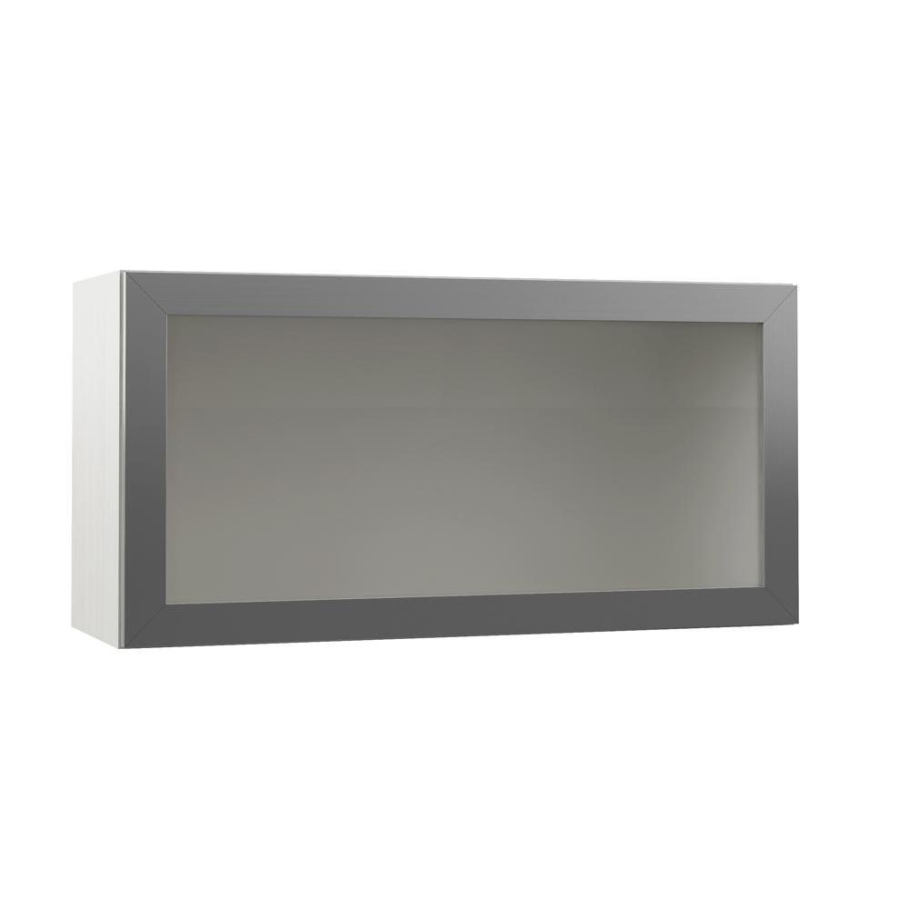 Hampton Bay Designer Series Tayton Embled 36 In X 18 12 Metal Lift Up Door With Frosted Gl Wall Kitchen Cabinet Glacier