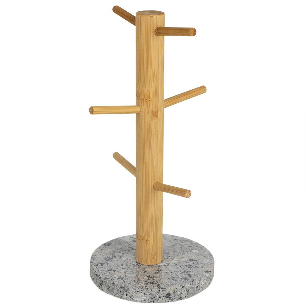 6-Hook White Bamboo Mug Tree Holder Stand with Granite Base