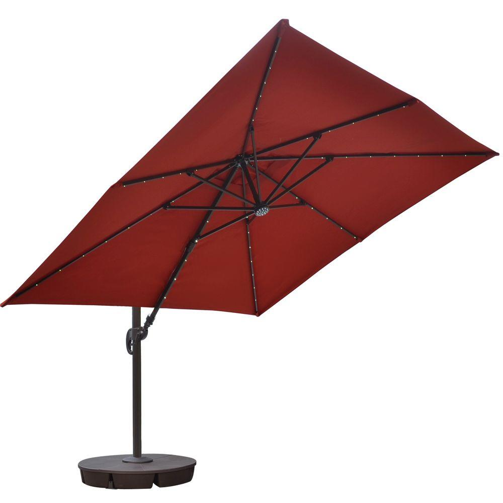 Captivating Island Umbrella Santorini II Fiesta 10 Ft. Square Cantilever Solar Patio  Umbrella In Terra Cotta Sunbrella Acrylic NU6250   The Home Depot