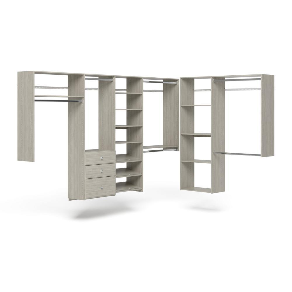 Closet Evolution 96 in. W - 120 in. W Rustic Grey L-Shaped Wood Closet System