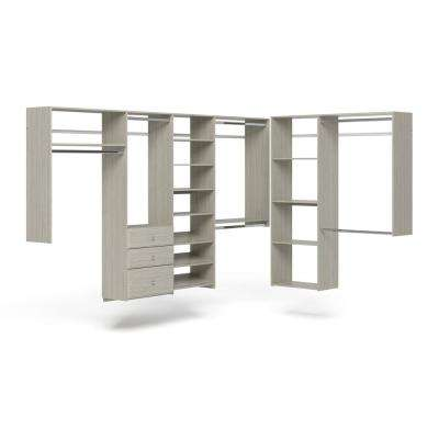 96 in. W - 120 in. W Rustic Grey L-Shaped Wood Closet System
