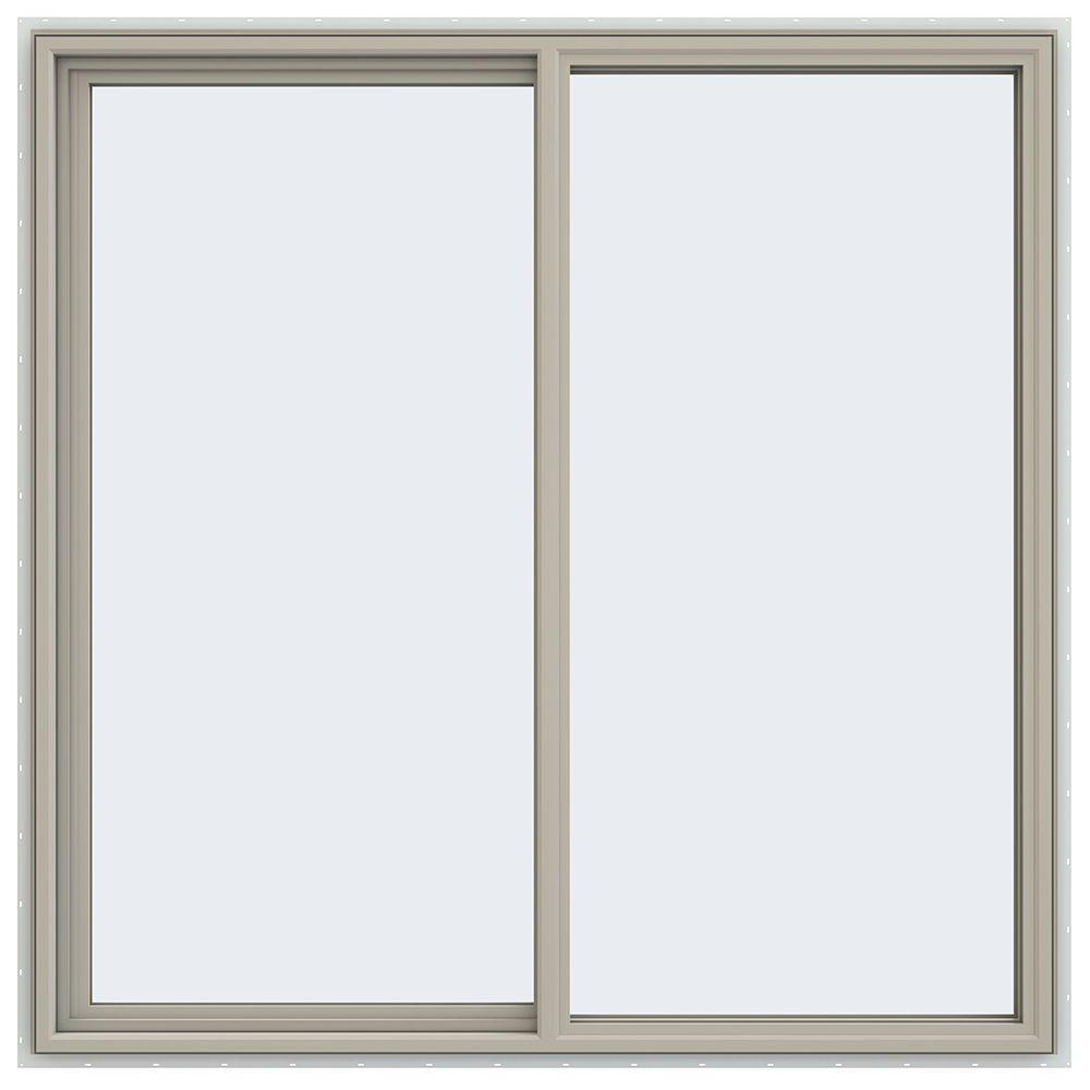 JELD-WEN 59.5 in. x 59.5 in. V-4500 Series Left-Hand Sliding Vinyl Window - Tan