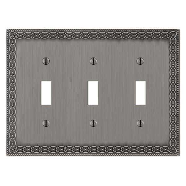 Amelia 3 Gang Toggle Metal Wall Plate - Antique Nickel
