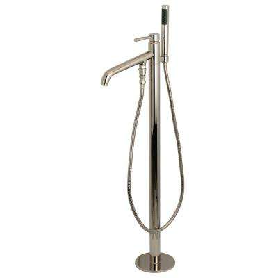 Modern Single-Handle Floor-Mount Claw Foot Tub Faucet with Handshower in Polished Nickel
