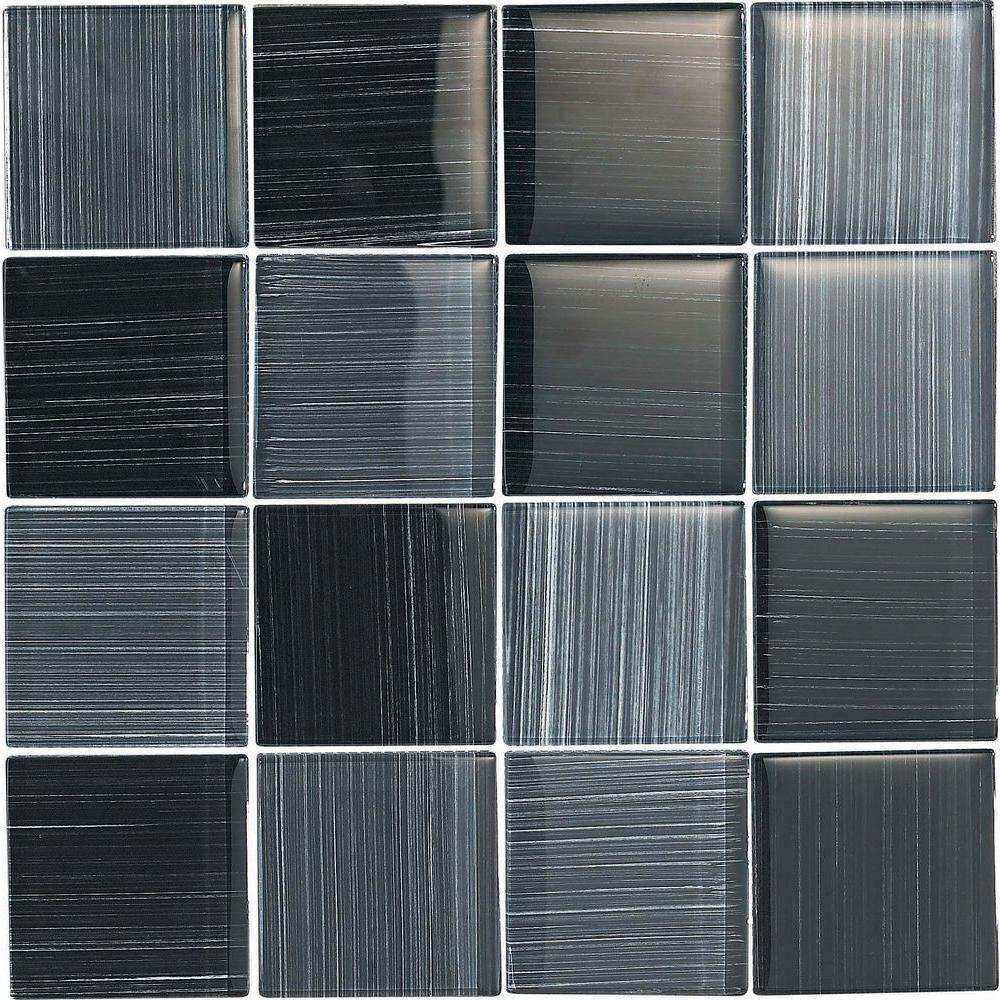 Epoch Architectural Surfaces Brushstrokes Nero-1501-3 Mosaic Glass Mesh Mounted - 4 in. x 4 in. Tile Sample-DISCONTINUED