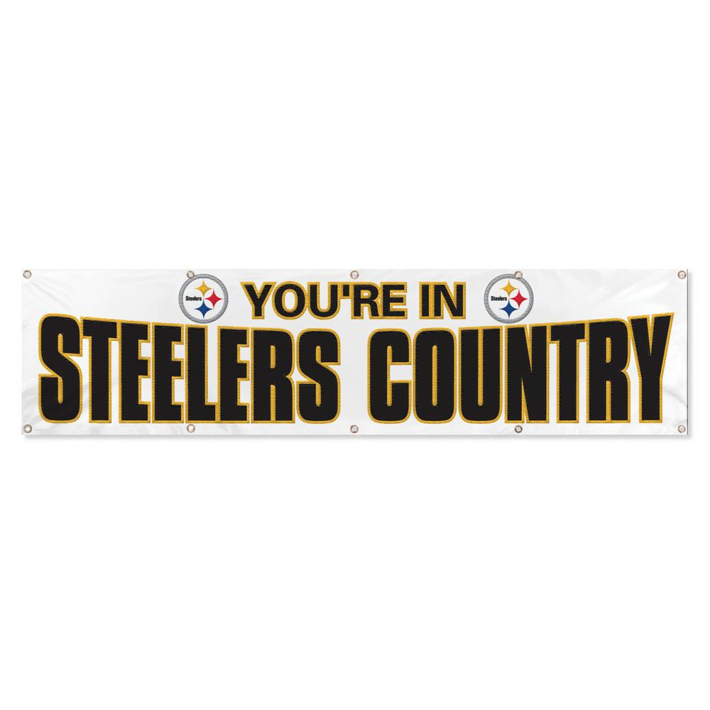 party animal pittsburgh steelers giant 8 ft x 2 ft banner white rh homedepot com home depot banner elk nc home depot banner elk nc