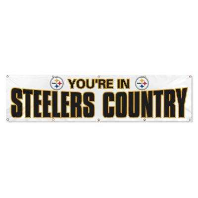 Pittsburgh Steelers Giant 8 ft. x 2 ft. Banner White