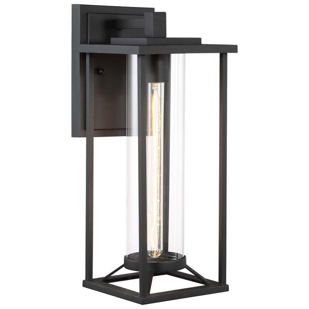 Trescott 1-Light Outdoor Black Wall Lantern Sconce
