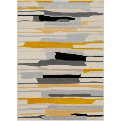 Astvin Mustard 5 ft. 3 in. x 7 ft. 3 in. Abstract Area Rug