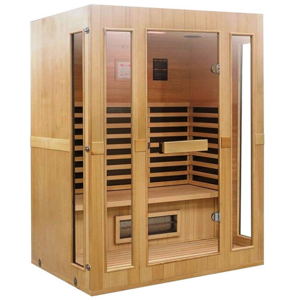 Lifesmart Signature InfraColor Full Spectrum Infrared 3 Person Sauna with 9 Dual Tech Heaters Mp3 and Chromo Therapy with Remote