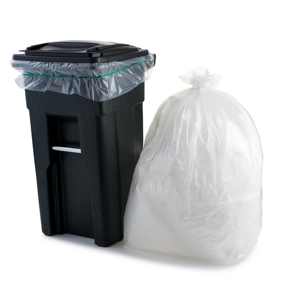 61 in. W x 68 in. H 95 Gal. - 96 Gal. 2.0 mil Clear Gusse Seal Low Density Trash Bags (50-Case)