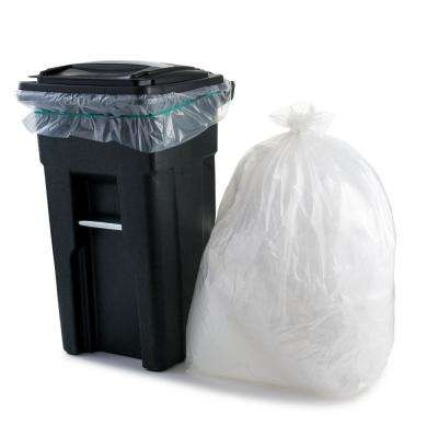 61 in. W x 68 in. H 95 Gal. - 96 Gal. 1.5 mil Clear Gusset Seal Low Density Trash Bags (50-Case)