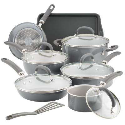 Create Delicious 13-Piece Gray Shimmer Aluminum Nonstick Cookware Set