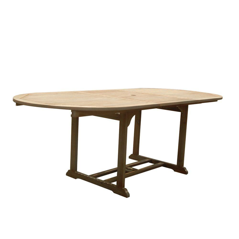 vifah renaissance hand scraped acacia oval extension patio dining table v1296a the home depot. Black Bedroom Furniture Sets. Home Design Ideas