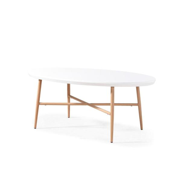 Handy Living Miami White Oval Cocktail Table With Light Oak Metal