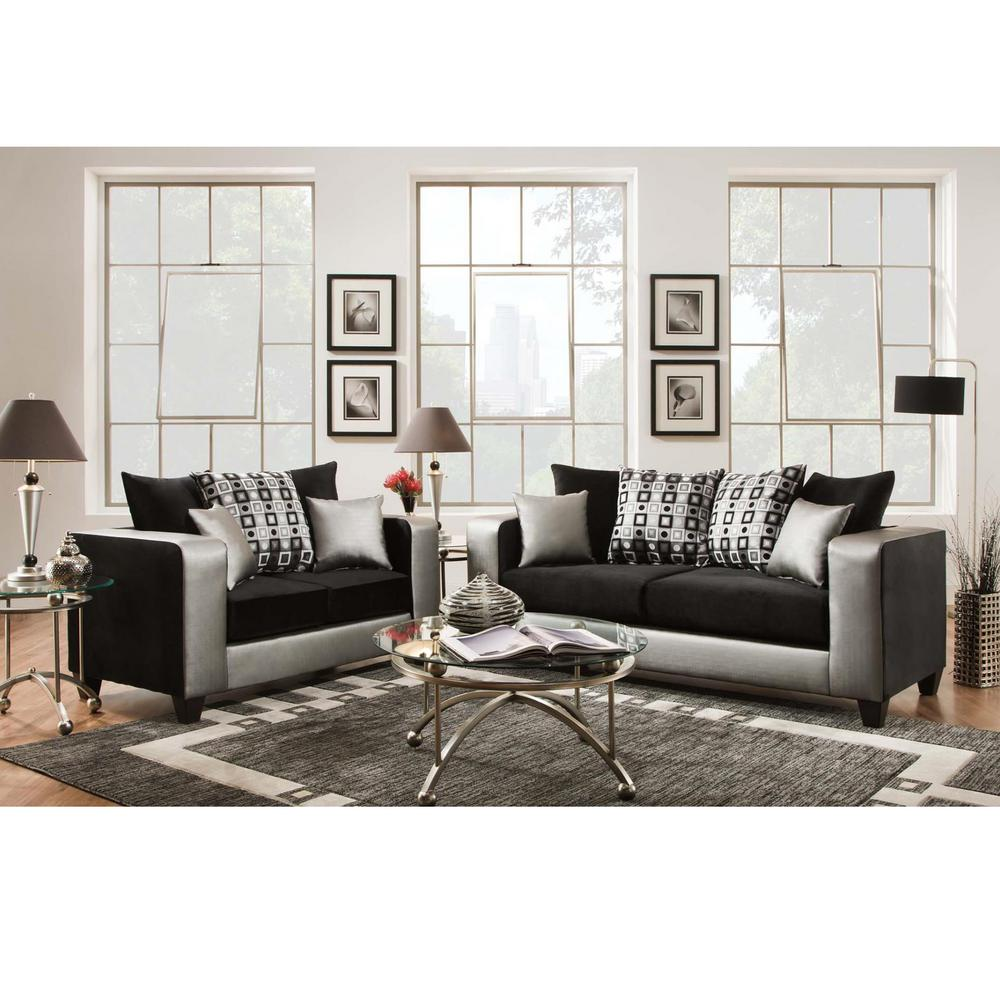 Flash Furniture Riverstone Implosion Black Velvet Living Room Set ...
