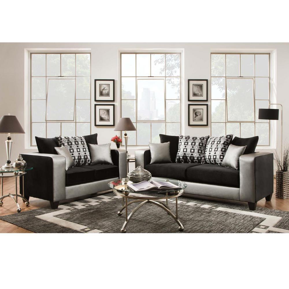 Riverstone Implosion Black Velvet Living Room Set