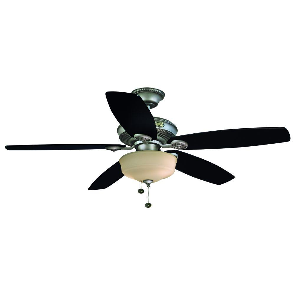 Hampton Bay Sibley 52 in. Indoor Cambridge Silver Ceiling Fan with Light Kit