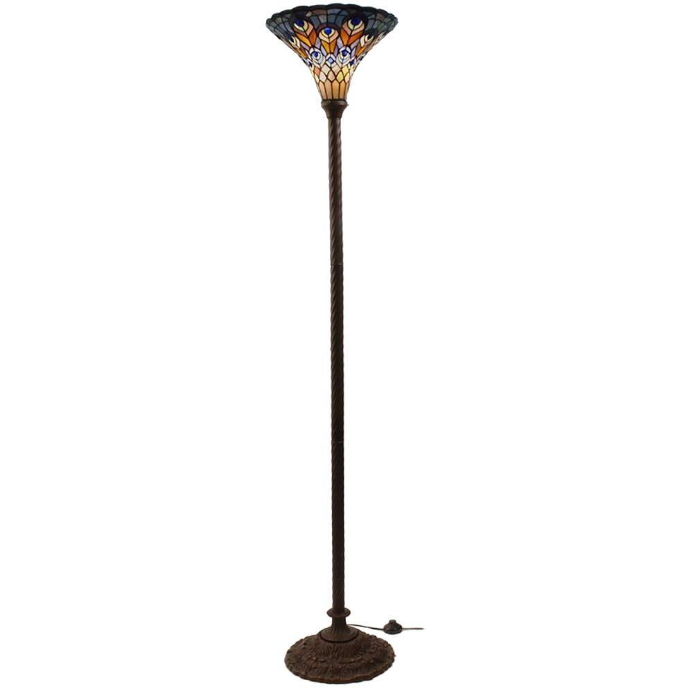 Warehouse of tiffany 72 in antique bronze peacock stained glass antique bronze peacock stained glass floor lamp with foot switch aloadofball Choice Image