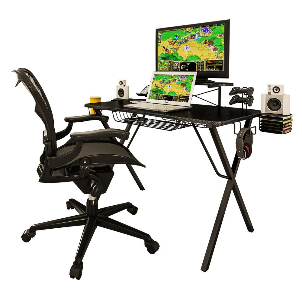 Atlantic Inc. Gaming Desk Pro Supports 32 in. Monitors up to 40 lbs. With several console and PC video games, it would be nice to organize all your gear for easy access. Your large drink and headphone should be within easy reach for those long play sessions. The sturdy, elevated flat panel stand lets you use your laptop and TV/Monitor at the same time, while charging your smart phone. The adults may need to purchase more games online or even pay the bills. The Gaming Desk does all that and much more.
